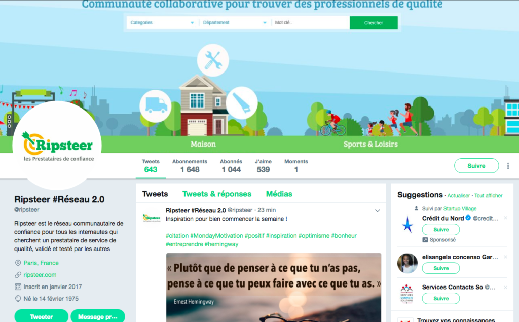 Community Manager sur Twitter pour la start-up RIPSTEER
